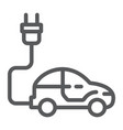 electric car line icon ecology car and energy vector image vector image