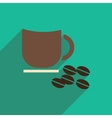flat icon with long shadow cup coffee beans vector image vector image