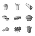 food fast cafe and other web icon in monochrome vector image vector image