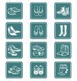footwear icons teal series vector image vector image