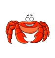 Friendly cartoon red crab with large pincers vector image vector image