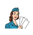 Girl retro stewardess with white forms brochure vector image