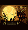 halloween party banner with spooky castle vector image vector image