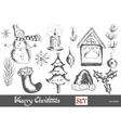 hand drawn New Year and Merry Christmas set vector image vector image