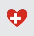 heart in colors of the switzerland flag vector image