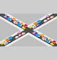 isometric crossroads intersection vector image vector image