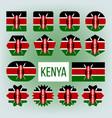 kenya various shapes national flags set vector image