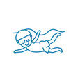 kids diving linear icon concept kids diving line vector image