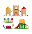 Kids swing slides and castle vector image vector image