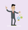 man holds money and idea on the scales vector image