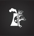 nuclear power plant ecology icon on black vector image vector image