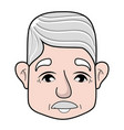 old man face with moustache and hairstyle vector image vector image