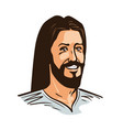 portrait of happy jesus christ cartoon vector image vector image