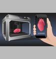 printing human organs in a 3d printer vector image
