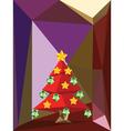 Red Polygonal Christmas Tree3 vector image