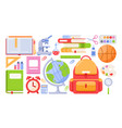 school tools icon set cartoon vector image vector image