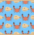 sea animals creatures crab seamless pattern vector image vector image