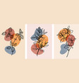 set abstract botanical wall art with abstract
