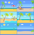 set tropical coastline views vector image vector image