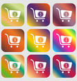 shopping cart icon Nine buttons with bright vector image vector image