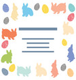 template with rabbits and painted easter eggs vector image