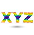 triangular letters xyz vector image vector image