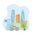 urban ecology parking bicycles transport city vector image