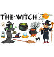 Witch and dark magic objects vector image vector image
