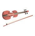 wooden violin with fiddlestick musical instrument vector image vector image