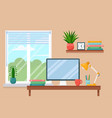 workplace room interior work cabinet at home vector image