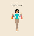 young woman and shopping bags on a vector image