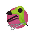 hairdresser icon hair dryer comb scissors vector image