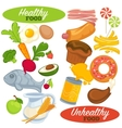 Healthy and unhealthy food set vector image