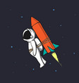astronaut flying to space with rocket tied for him vector image vector image