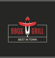 bbq and grill logo barbecue with fork and sausage vector image