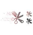 broken pixel halftone comb and scissors tools icon vector image vector image