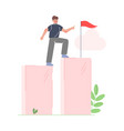 businessman climbing up to goal on column of vector image vector image