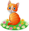 cartoon cat sitting on the grass vector image vector image