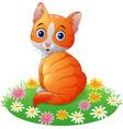 cartoon cat sitting on the grass vector image
