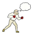 cartoon retro boxer man with thought bubble vector image vector image