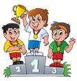 cartoon winners podium vector image