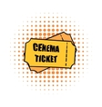 Cinema tickets comics icon vector image