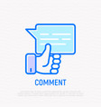 comment line icon speech bubble with thumbs up vector image