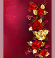 composition with red jewelry roses vector image vector image