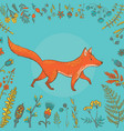 cute fox surrounded flowers vector image