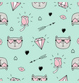 cute seamless pattern with cat hearts and love vector image vector image