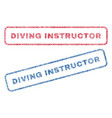 diving instructor textile stamps vector image vector image