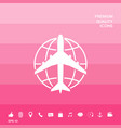 earth and airplane logo vector image vector image