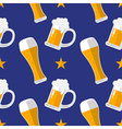 Glass of beer flat seamless pattern vector image