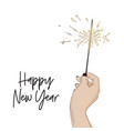 happy new year sketch with hand holding bengal vector image vector image